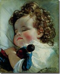 Amerling - Sladké sny, olej na plátně