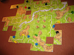 Carcassonne, at the end of the game with most markers already removed