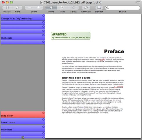 OS X Preview displaying a PDF with annotations