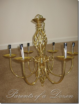 Parents of a dozen chandelier redo before after aloadofball