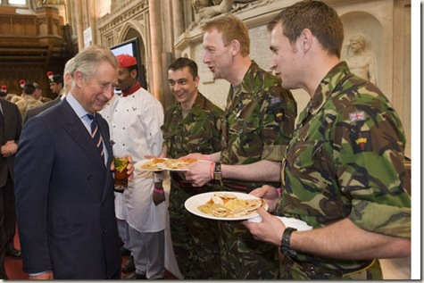 The Prince of Wales  attended The Lord Mayor's Big Curry Lunch. His Royal Highness  met Army officials, soldiers and supporters of ABF The Soldiers' Charity. Also during the reception  WO1 Aron Heath Maj Garry young and WO1 Ewan Andrews having served in Iraq and Afghanistan   ...Picture Arthur Edwards The Sun. London