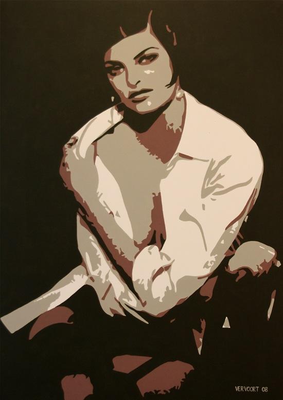 Linda Evangelista painting by Luc Vervoort