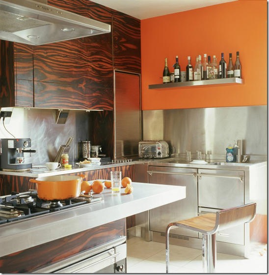 Real Home:  kitchen, bold colour orange, dark wood ebony macassar pattern veneer units, storage cupboards, stainless steel worktop, splashback. Pub orig  L etc 12/2005 p26 real home