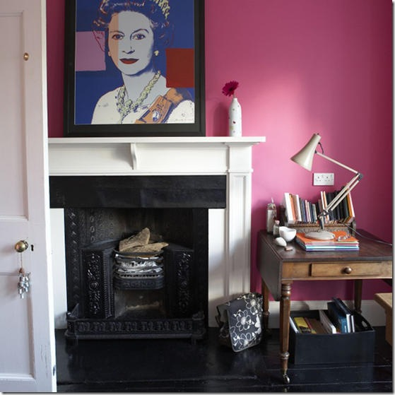 Pink living room fireplace Andy Warhol Queen Elizabeth II print artwork poster vintage antique leaf table real home L etc 01/2008 Pub Orig