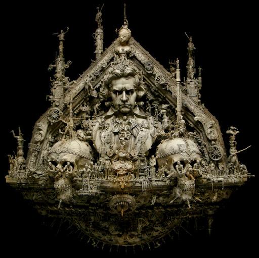 skull art, horror skull, kris kuksi