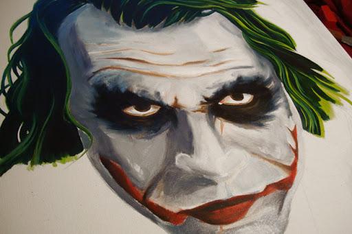 joker, joker painting, horror canvas, horror painting, heith ledger