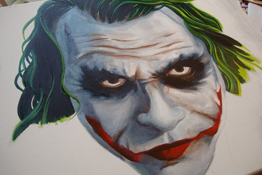 oil painting, oil on canvas, horror art, joker art, batman art