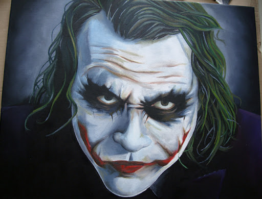 joker, dark knight, Heath Ledger, joker comic, joker batman, batman painting, joker painting, joker canvas