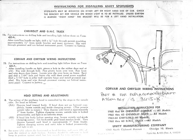 60 63 spotlight installation the 1947 present chevrolet gmc notice the difference in the templates first the unity template second the gm dealer template