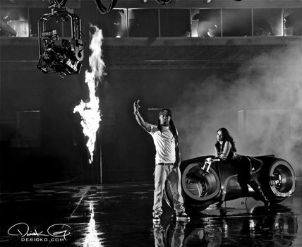 Foto do Lil Wayne gravando o clipe Fire Flame (Remix)