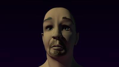 A face, textured