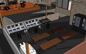 Mixing consoles lobby area