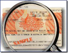 Exemplo de visto australiano