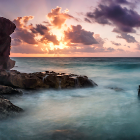 Sunrise at Tulum by Cristobal Garciaferro Rubio - Landscapes Waterscapes ( clouds, caribbean sea, rivera maya, mexico, sunrays, sunrise, tulum, mayan, rays, sun, sun waves, sea shore )