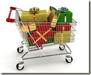 christmas gifts wrapped in shopping cart
