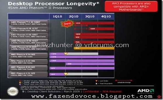 Phenom II X6 Thuban foi colocado no Fórum VR-Zone. Essa imagem mostra as seguintes especificações para os novos processadores AMD hexanucleares: