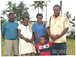 Robert with his family leaving Rumginae to go to Fuma to work