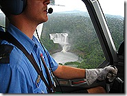 On short final into Wawoi Falls with the waterfall out the pilot's side window