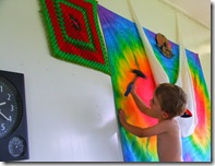 Sam has taken responsibility for maintenance himself. Here he is helping Judy hang a dyed cloth on our loungeroom wall