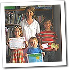 Rumginae Home School class - Rosie is reading very well, Sam can spell his name, Tom received a deputy principal's award for his recent school project