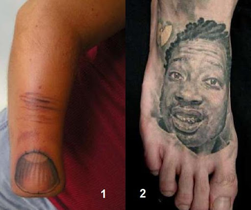 The stump of a wrist, tattooed to look like a thumb.