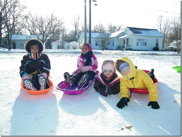 sledding girls