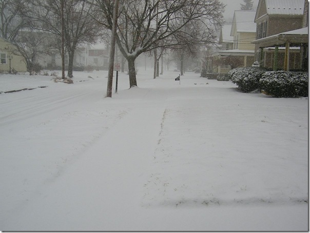 snow on street