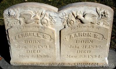 Ferrell and Aaron Chipman tombstones