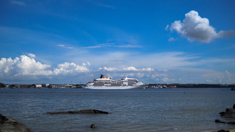 Cruise liner along Johore Straits
