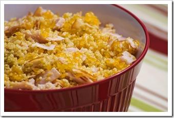 Salada de quinua tangerina e peito de peru