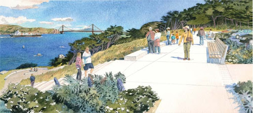 Rendering of Lands End parking lot at USS San Francisco Memorial, San Francisco from Golden Gate National Parks Conservancy