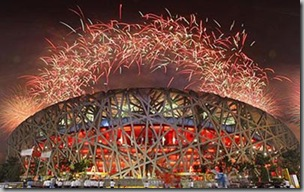 Sports Events...epa01465413 Fireworks go off over the National Stadium during the Closing Ceremony of the Beijing 2008 Olympic Games at the National Stadium, known as Bird's Nest, Beijing, China, 24 August 2008.  EPA/VALDRIM XHEMAJ