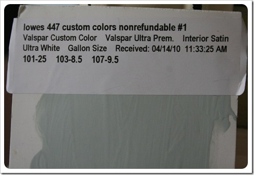 Melissa's Entryway Paint Formula