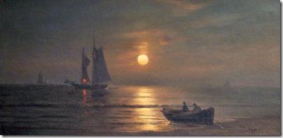 Coming Ashore, Evening, oil on canvas, Warren Sheppard