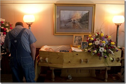 Photo by Russell Kaye for The New York Times. Keith Gragg at a funeral home in Clayton, Ga., on Thursday for services for Sammy Green. Mr. Green lived with the Gragg family.