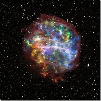 The aftermath of the death of a massive star (X-ray: NASA/CXC/Penn State/S.Park et al.; Optical: Pal.Obs. DSS)