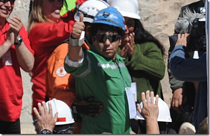 Victor Zamora gives the cameras a thumbs up after being saved from the mine. (Photo: AFP/Getty Images)