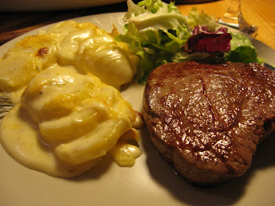 healthy, wholesome and plain delicious - steak, salad and potato gratin