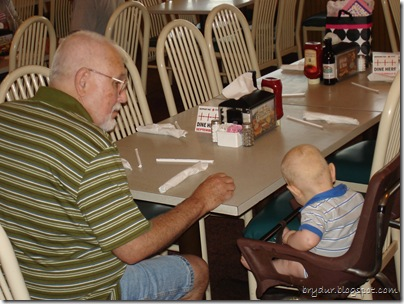Mike and Grandpa wait for the food...