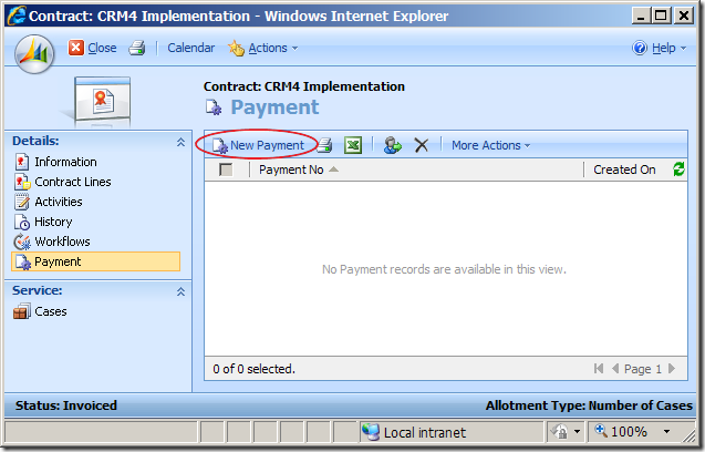 Associated View of Invoiced CRM Contract with New Button