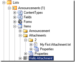 List Item Attachments Location