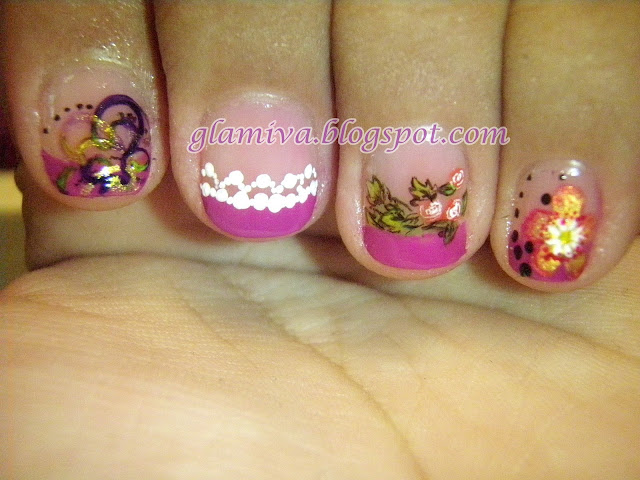 nail art picture designs on purple french 2010