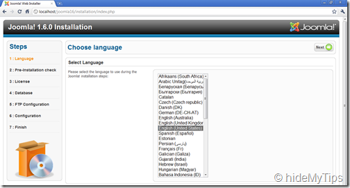 Joomla Installation 1.6  Selecting Languages