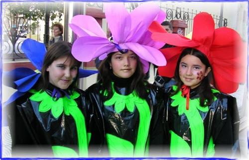 Disfraz de flor de pl stico y papel para grupos disfraz casero y original - Disfraz casero mosquetero ...