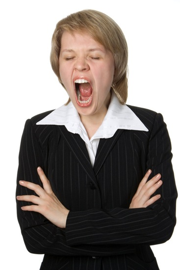 businesswoman with open mouth