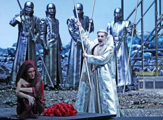 Max Emanuel Cencic [right] as the Herold in the world premiere of Aribert Reimann's MEDEA at the Wiener Staatsoper, with soprano Marlis Petersen as Medea [left]