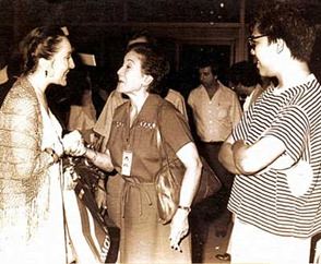 Nelly Miricioiu (left), in the Philippines in 1980