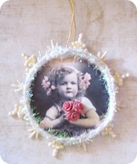snowflake ornament girl w roses2