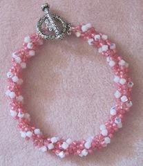 pink seed bead crystal bracelet