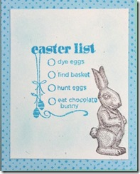 easter bunny card w list